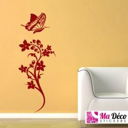 Sticker jolie plante et papillon