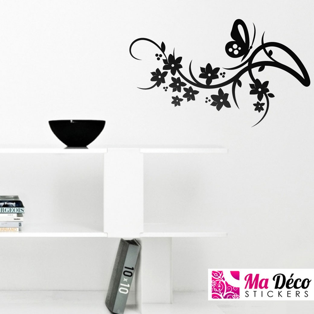Sticker Floral Et Papillon Cheap Stickers Nature Discount Wall