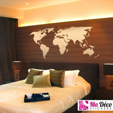 world map pas cher stickers monde discount stickers muraux madeco stickers. Black Bedroom Furniture Sets. Home Design Ideas