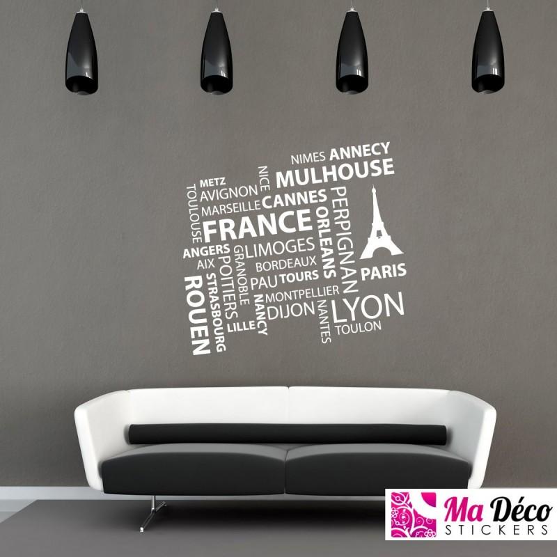 sticker villes de france pas cher stickers monde discount stickers muraux madeco stickers. Black Bedroom Furniture Sets. Home Design Ideas