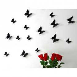 Pack of 12x 3D butterflies wall decals black
