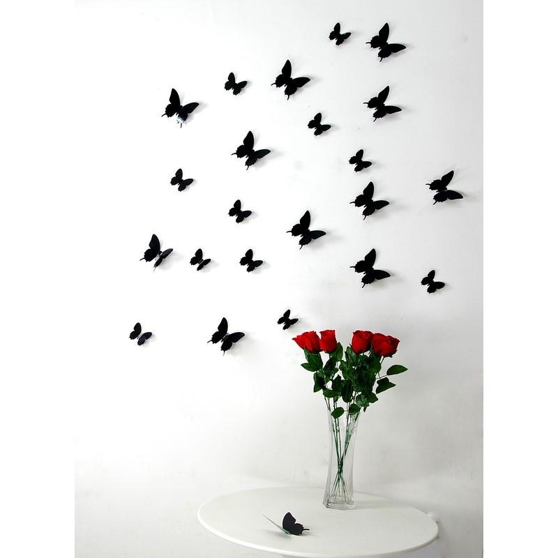 Kit de 12 Stickers papillons 3D noirs pas cher  Stickers
