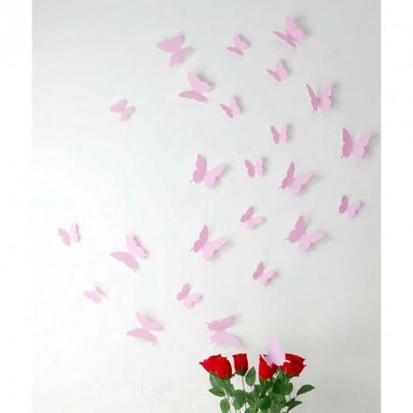 Pack of 12x 3D butterflies wall decals pink