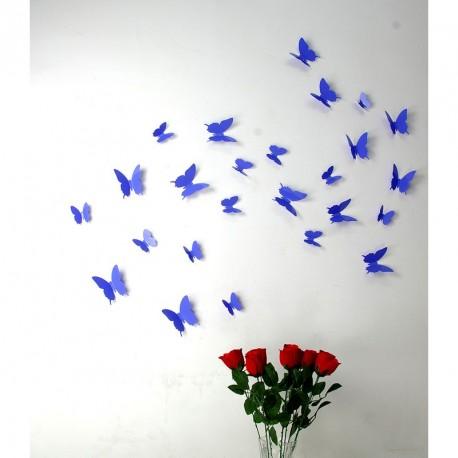 Pack of 12x 3D butterflies wall decals purple