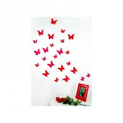 Pack of 12x 3D butterflies wall decals red