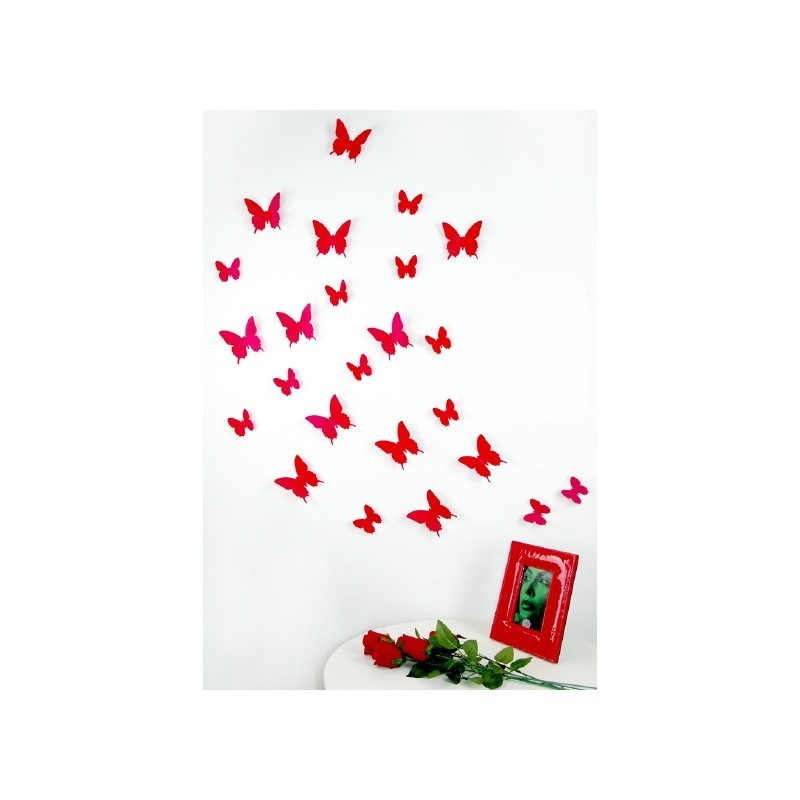 pack of 12x 3d butterflies wall decals red cheap stickers nature discount wall stickers. Black Bedroom Furniture Sets. Home Design Ideas