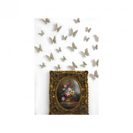 Pack of 12x 3D butterflies wall decals light brown