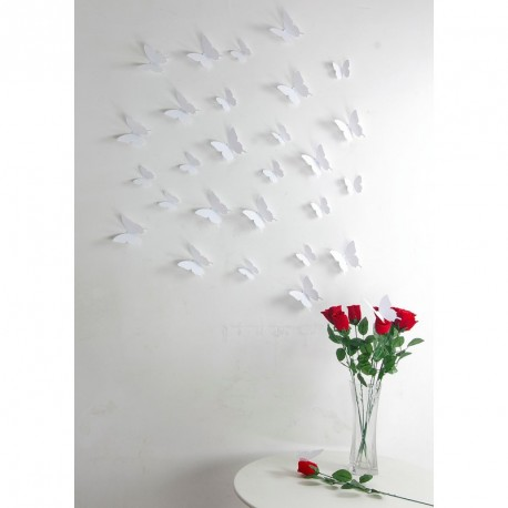 Pack of 12x 3D butterflies wall decals white