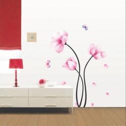 Stickers fleurs roses et papillons