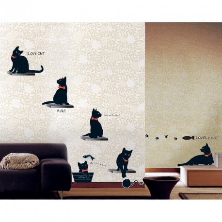 Black cats wall decals