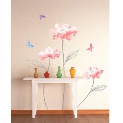Stickers fleurs roses claires et papillons