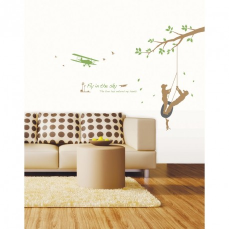 stickers balancoire dans les arbres pas cher stickers nature discount stickers muraux. Black Bedroom Furniture Sets. Home Design Ideas