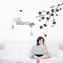 Text wall decals flowered with tree and birds