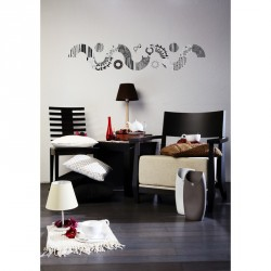 Grey and black designs circles wall decal