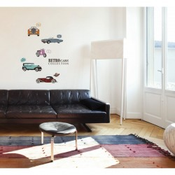 Retro cars collection wall decals