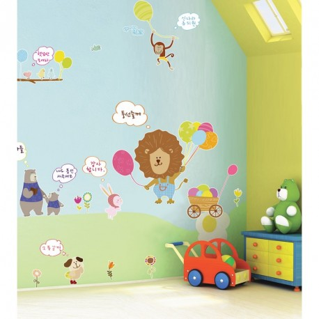 Lion and animals with white board parts wall decal