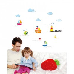 Baby sticker sea and boat