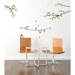 Owls singing on tree wall decal