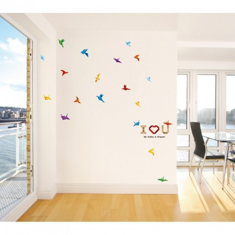 Paper birds and I love you wall decal