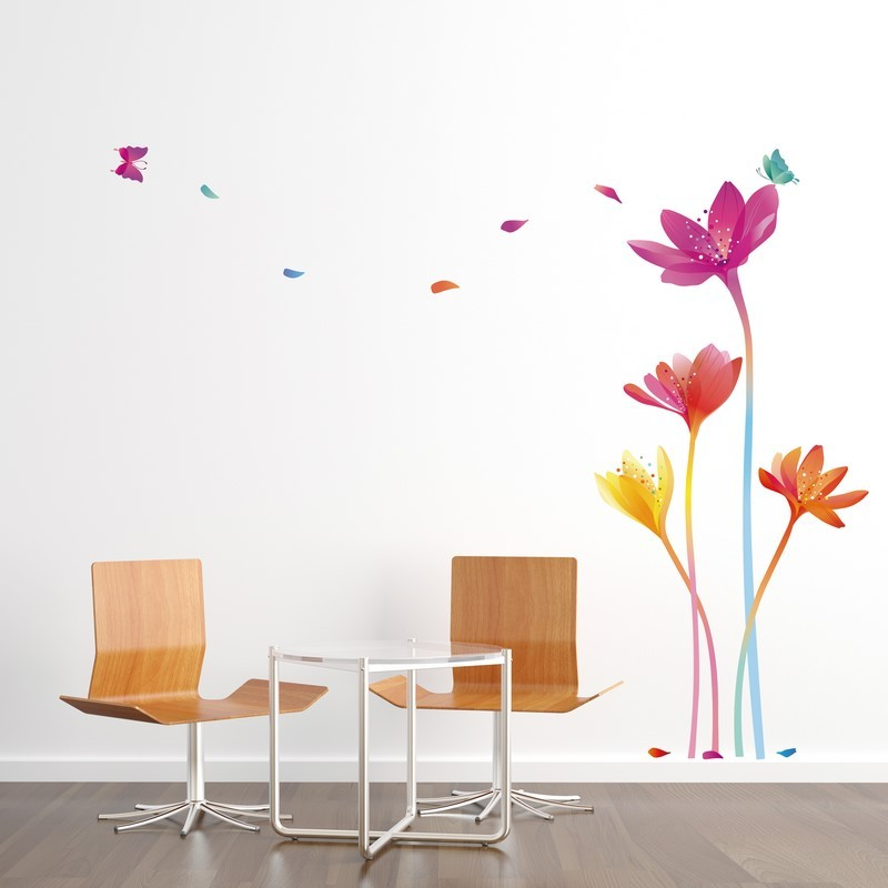 sticker fleurs arc en ciel pas cher stickers nature discount stickers muraux madeco stickers. Black Bedroom Furniture Sets. Home Design Ideas