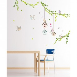 Birds cages in the forest wall decals Wall decal