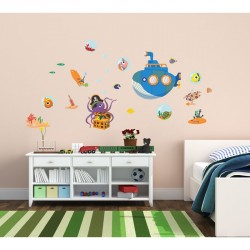 Octopus and submarine wall decals