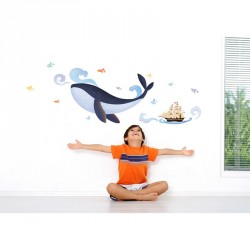 Whale, boat and fishes wall decal