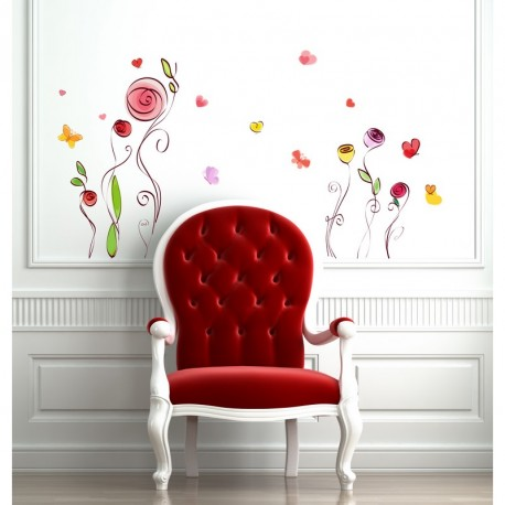 Roses and butterflies watercolored wall decals