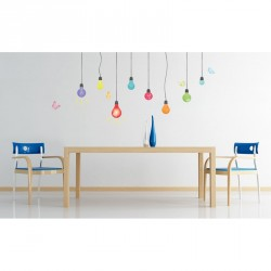 Multicolores light bulbs and butterflies wall decal