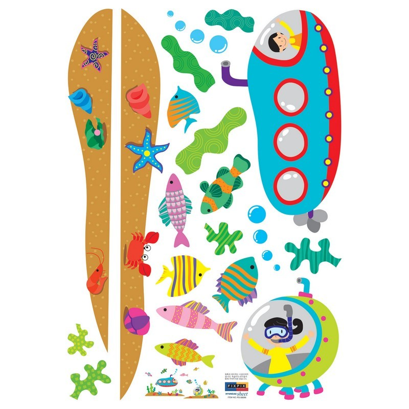 Stickers sous marin chambre enfant pas cher stickers enfants discount stickers muraux - Chambre enfant marin ...