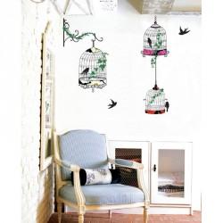 Stickers oiseaux en cages baroque