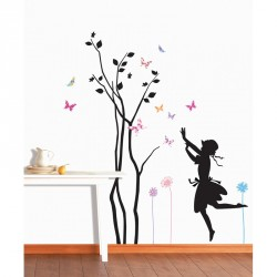 Young girl playing near a tree with butterflies flying around sticker
