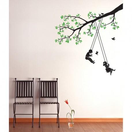 Children swinging in a tree sticker
