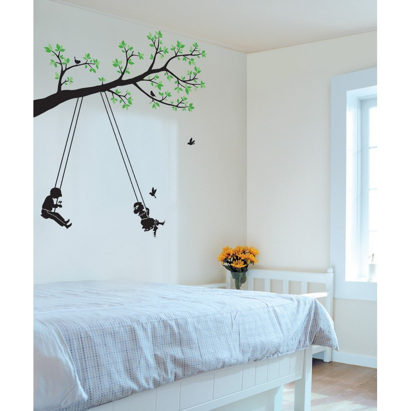 stickers arbre et enfants pas cher stickers enfants discount stickers muraux madeco stickers. Black Bedroom Furniture Sets. Home Design Ideas