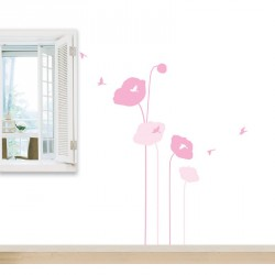 Pink poppy flowers and birds wall decals