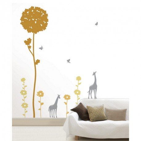 Africa's flowers and girafes wall decal