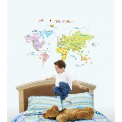 World map for children wall decal