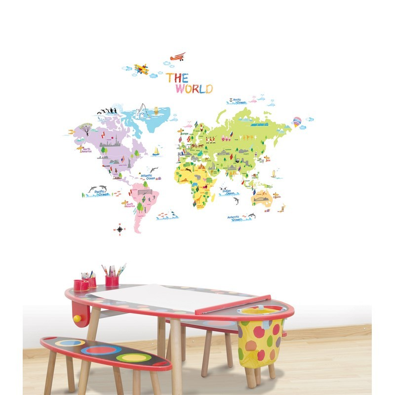 sticker carte du monde pour enfants pas cher stickers. Black Bedroom Furniture Sets. Home Design Ideas