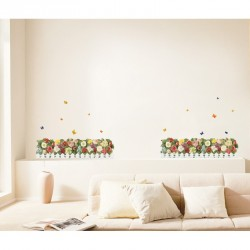 lowering hedge and butterflies wall decal