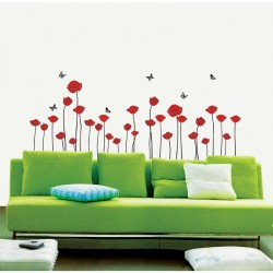Red Poppies Flowers Wall Decal