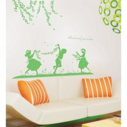 Children playing into the wild wall decal