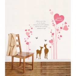 Pink hearts and deers