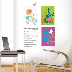 Graphic flower and bird decal