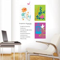 Stickers fleurs graphiques et oiseaux