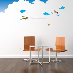 Airplane in the clouds wall decal