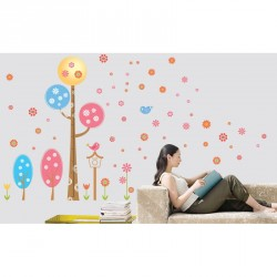 Rounded design trees and flowers wall decals