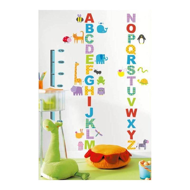 stickers toise pour enfants avec alphabet et animaux pas cher stickers enfants discount. Black Bedroom Furniture Sets. Home Design Ideas