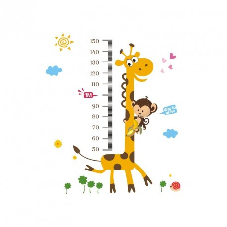 Girafe and monkey kidmeter  wall decal