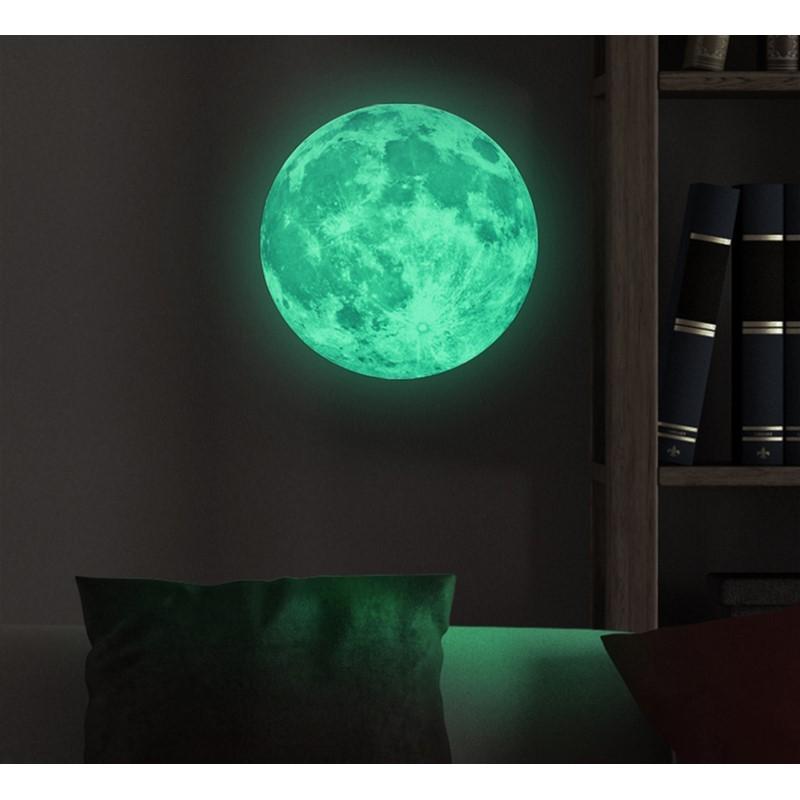 Moon glow in the dark wall decal 30cm cheap - Wall ...