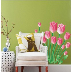Tulips wall decal - pink